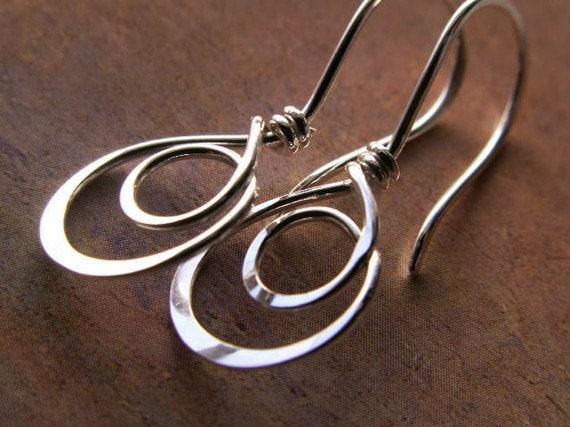 double hoop earrings sterling silver hammered metalwork. Black Bedroom Furniture Sets. Home Design Ideas