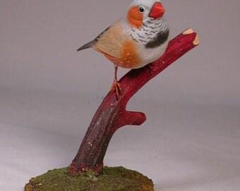 Zebra Finch -2 Hand Carved Wooden Bird