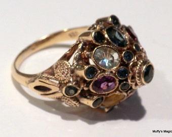 Sale 18 kt Gold Princess Mogul Ring Blue Sapphires Topaz Amethyst Tiger Eye Citrine
