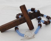 Crucifix Cross Wooden Pendant Statement Necklace Beaded Religious Jewelry Dark Brown Amber Shell Blue Purple Cross Necklace