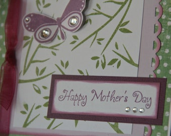Mother's Day Card with Butterfly- Card for Mom- Happy Mother's Day - Stamped Leaves and Butterfly Mother's Day Card- Card for Mom (MD1422)