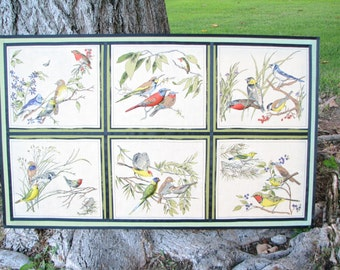 Hand Crafted - Fabric Picture - On Frame - Quilted - 3D - Birds in Frames - Mixed Media - Leaves - Fiber Art -