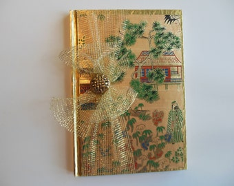 Gold Asian-Themed Blank Journal with Gold Mesh Ribbon (detachable) and Knot Charm