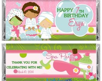 Spa Party Sleepover Happy Birthday Candy Bar Wrapper Party Favor