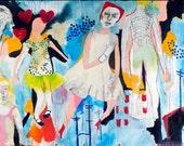 Original painting. Large canvas painting. colorful painting. jamie hudrlik.