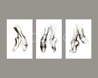 "dance gifts, ballet art prints - set of 3 - 11""x17"" - "" Pointe Shoes "","" Ballet on Pointe "","" Ballet Slippers ""- artwork print"
