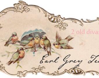 Edwardian Downton Abbey Era Tea Labels Decals Set of Ten Vintage Shabby