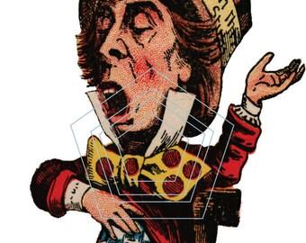 Vintage John Tenniel Mad Hatter Heat Transfer, Waterslide decal,  Alice In Wonderland
