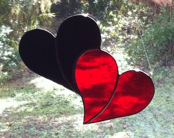 Black and Red Double Stained Glass Heart Sun catcher Great for Valentines Day!