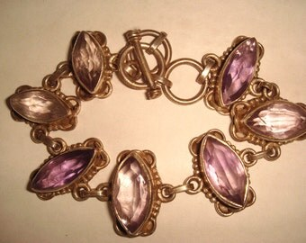 Beautiful Open Back Marquise Amethyst Sterling Silver Vintage Toggle Bracelet Vintage Jewelry