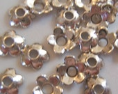 50 -  Tiny 6mm Smooth Flower Antiqued Silver Finish Bead Caps
