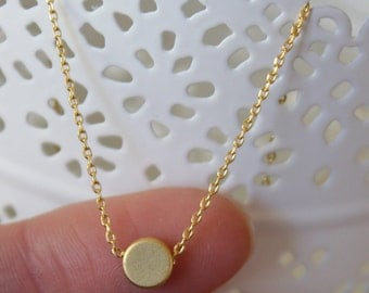 Tiny Gold Circle Necklace...Small Circle Necklace...bridal party jewelry gift idea birthday