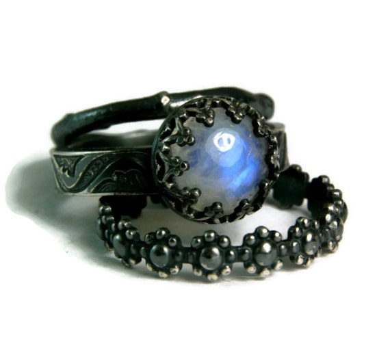 Moonstone Bridal Set Black Engagement Ring By
