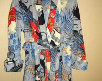 Boys size 8 fleece robe in guitar pattern