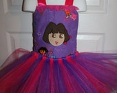 Embroidered  Purple Dora birthday corset TuTu party pageant dress Any Size 12 months 18 months 2t 3t 4t 5t