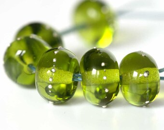 Pear Green Silver Droplet Lampwork Spacer Beads
