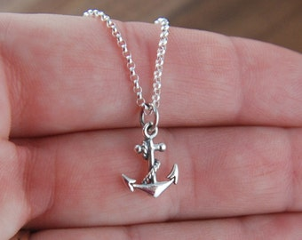 Anchor charm necklace in sterling silver, anchor pendant, sailing, silver anchor, tiny anchor charm, anchor jewelry, sterling silver anchor