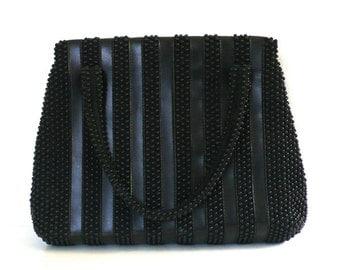 Vintage Black Beaded Striped Hangbag