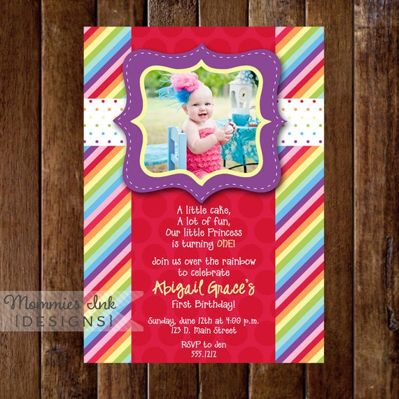 Rainbow Birthday Invitation, Photo Rainbow Invitation, Rainbow Birthday Party invitation, Rainbow Invite, Rainbow Party, 1st Birthday, DIY