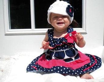 Crochet Newsboy Hat, 4th of July,Girls Crochet hat,Brim Hat with Flower, Crochet Cotton Hat, Baby Hat