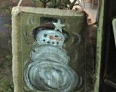 Snowman Door or Wall Hanging on Burlap