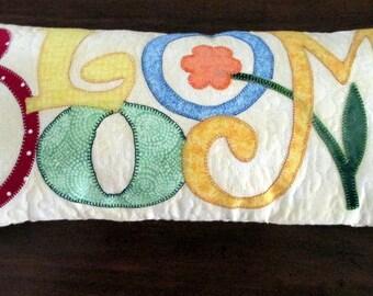 Quiilted Pillow, Decorative Pillow, Appliqued Pillow, Throw Pillow, Handmade, Home Decor