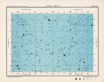 1955 star map 61 & 62 constellations original vintage celestial print rectangle