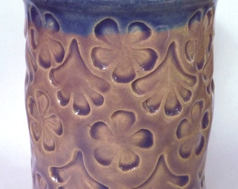 Lavender  Embossed Flowers and Ginko Leaves Vase or Pencil Holder