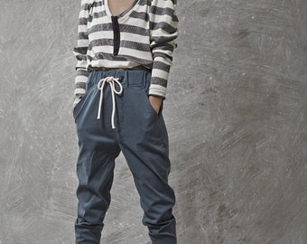 Blue tying stone washed denim cotton baggy pants