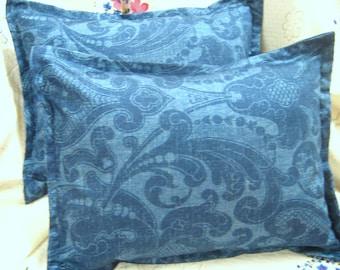 "LOS CABOS - Pair Custom Made Boudoir Pillow Shams  - Ralph Lauren Fabric - 12"" x 16"""