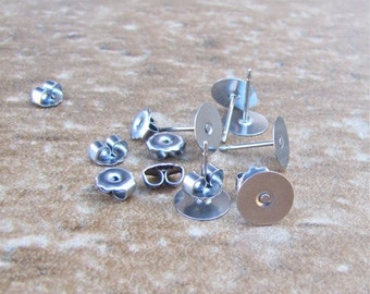 100 pcs 8mm Surgical Steel Flat Pad Earring Posts and Backs - 50 pairs