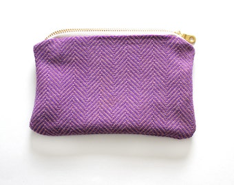 Herringbone vintage fabric zippered pouch, purple, organic zipper