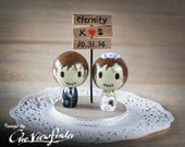 Customise Wedding Cake Topper with Sign Board - zombie. monster, creature, halloween