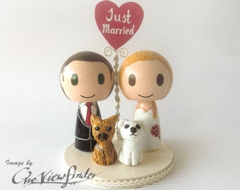 "Customize 2.75"" Wedding Cake Topper with heart message and 2 pet"