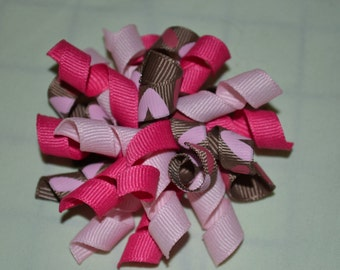 Hot pink, light pink, and brown with pink hearts Valentine's Day Korker Bow