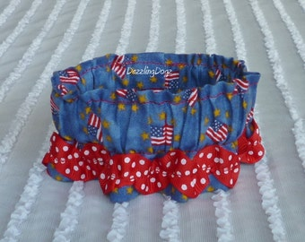 """Flags & Stars Dog Scrunchie Collar with red dotted rick rack - Size XXS: 8"""" to 10"""" neck"""