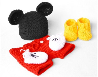 Mickey Mouse Newborn Photography Prop Set - Crochet Mickey Mouse Set Pattern - Mickey Mouse Ears - Mickey Mouse Hat - Shorts Shoes Mitten