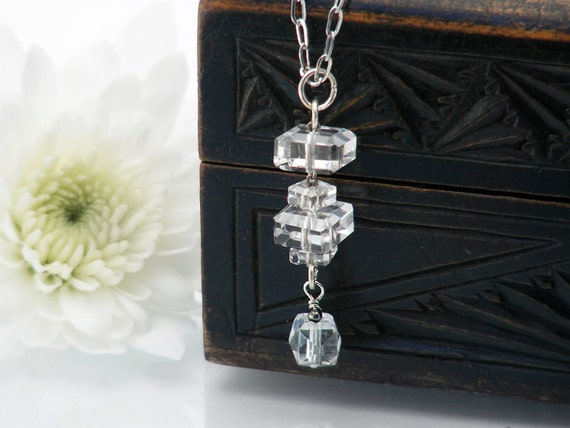 Antique Cut Crystal Necklace | Antique Cut Crystal Bead Drop | Lavaliere Bridesmaids Necklace | Bridal Gift, Wedding Jewelry - 20 inch Chain