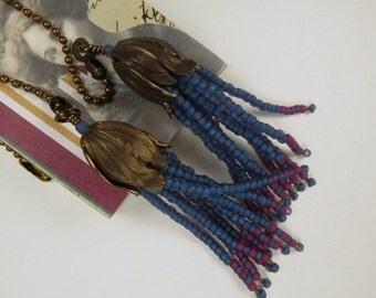 Fan Chain Pair for Ceiling Fan or Lamp with Royal Blue and Rose Beaded Fringe and Antiqued Brass Color Findings