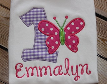 Personalized Butterfly Birthday Shirt with Number