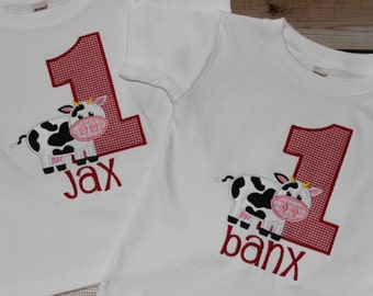 Personalized Farm Birthday Shirt with Number and Cow