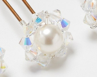 COCO - Sparkly swarovski crystal and pearl Hairpins - Set of 3