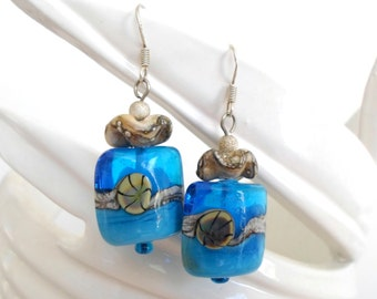 Lampwork Earrings, Handmade Fashion Jewelry, Beach Waves, Unique Artisan Summer Fashion Lampwork Jewelry Gift for Mom on Mother's Day