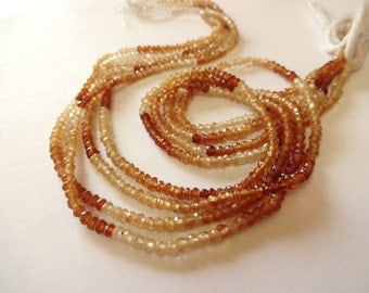 """Use TAKE10 for 10% off! AAA Hessonite Garnet Faceted Rondelles, 3mm, 1/4 Strand (3.5"""" long), caramel, rust, tan, neutral, natural gemstones"""