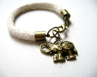 Lucky - Cotton cord rope bracelet elephant charm luckky charm fiber bracelet natural organic jewelry