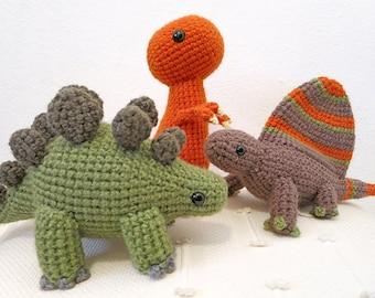 Crochet Dinosaur PATTERN BUNDLE 1 - Amigurumi Dimetrodon, Tyrannosaurus, Stegosaurus Plush Dolls
