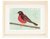 AMERICAN ROBIN Poster Size Linocut Reproduction Art Print: 8 x 10, 11 x 14, 12 x 16