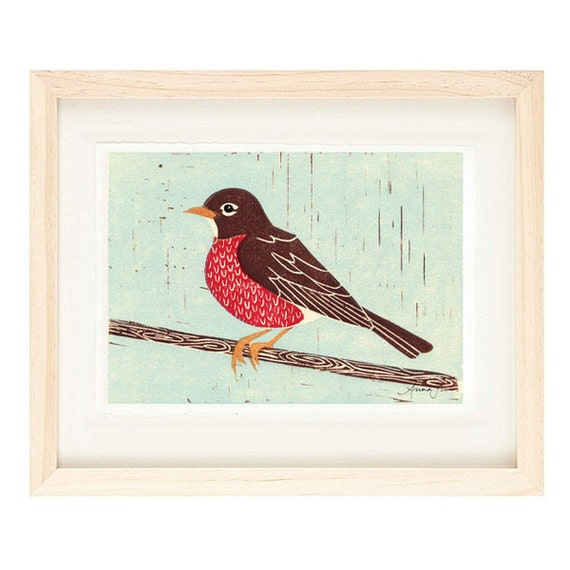 AMERICAN ROBIN Linocut Reproduction Art Print: 4 x 6, 5 x 7