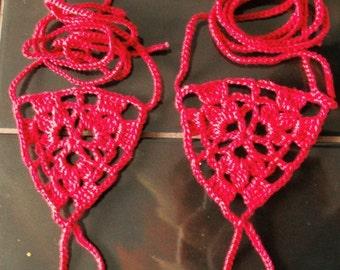 Red Crochet Barefoot Sandals