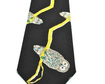 Owl Mens Neckties, Mens Necktie, Owl Necktie, Neckties, Black Neckties